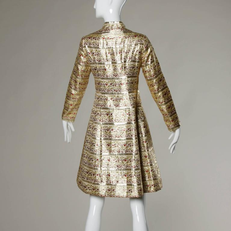 Saks Fifth Avenue Vintage 1960s Metallic Brocade Rhinestone Coat For Sale 1