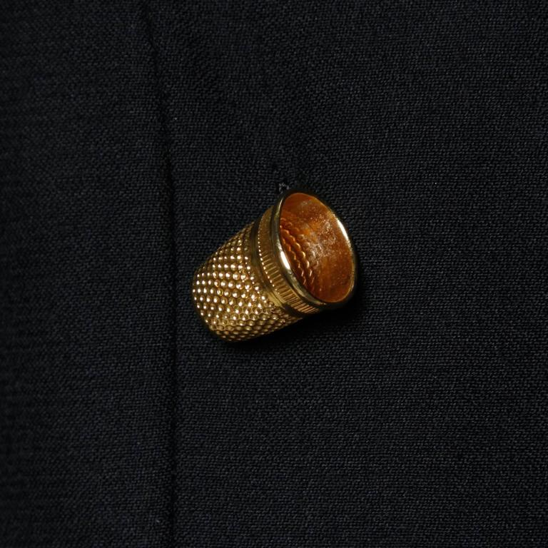 """Moschino Vintage 90s Black Blazer Jacket with Novelty """"Thimble"""" Buttons For Sale 2"""