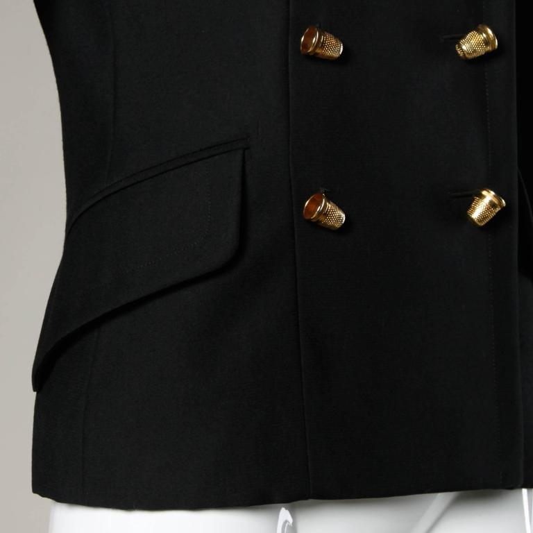 "Moschino Vintage 90s Black Blazer Jacket with Novelty ""Thimble"" Buttons 5"