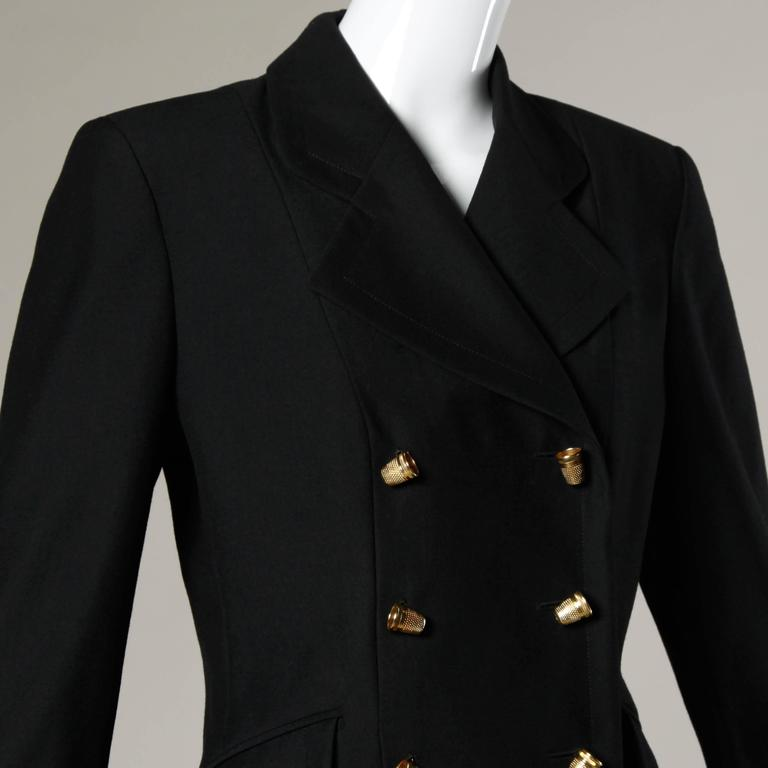 "Moschino Vintage 90s Black Blazer Jacket with Novelty ""Thimble"" Buttons 2"
