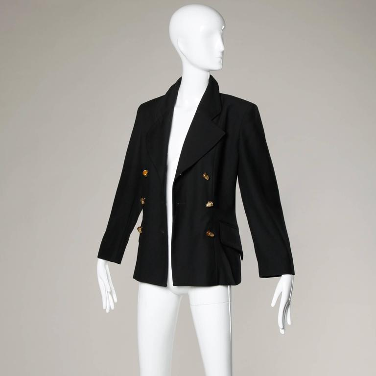 "Moschino Vintage 90s Black Blazer Jacket with Novelty ""Thimble"" Buttons 8"