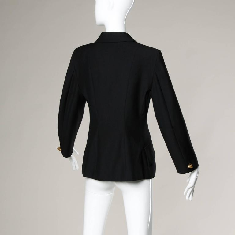 """Moschino Vintage 90s Black Blazer Jacket with Novelty """"Thimble"""" Buttons In Excellent Condition For Sale In Sparks, NV"""