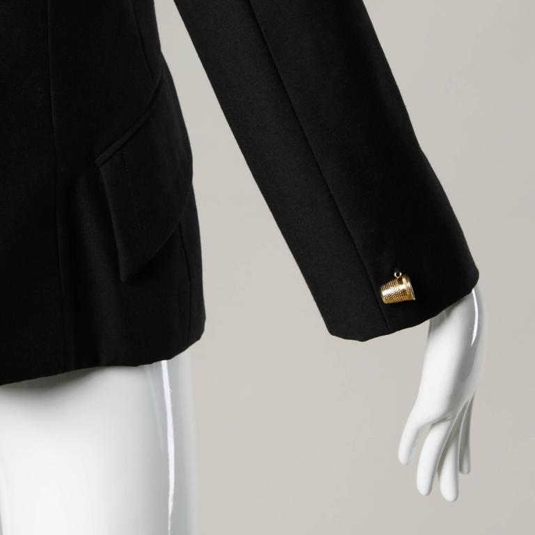 "Moschino Vintage 90s Black Blazer Jacket with Novelty ""Thimble"" Buttons 7"