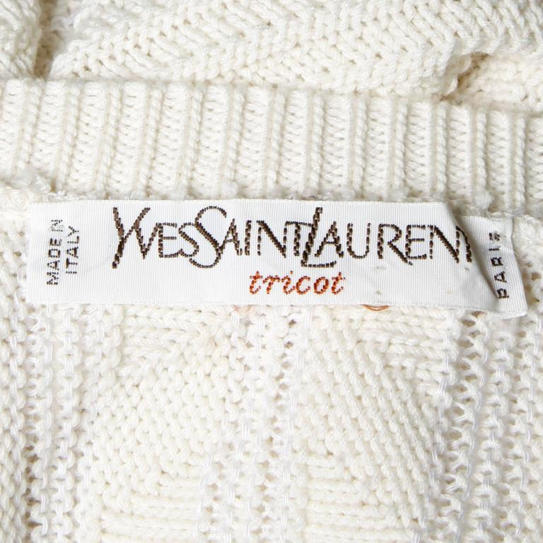 Saint Laurent Vintage Cable Knit Sweater Dress with a V-Neck In Excellent Condition For Sale In Sparks, NV