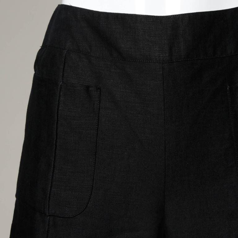 Chanel Black Linen Wide Flared Leg High Waisted Trousers/ Pants 5
