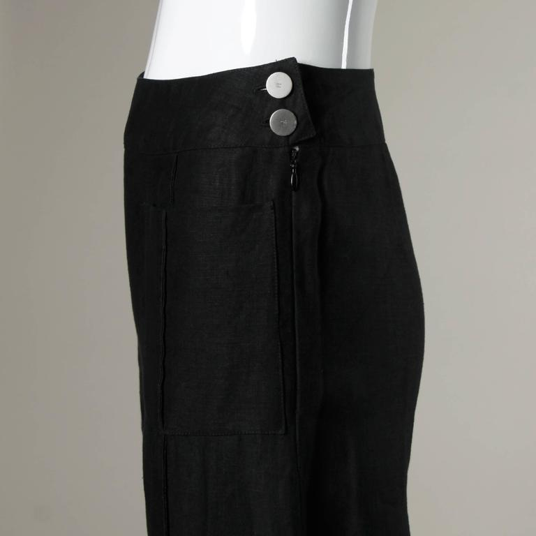 Chanel Black Linen Wide Flared Leg High Waisted Trousers/ Pants 2