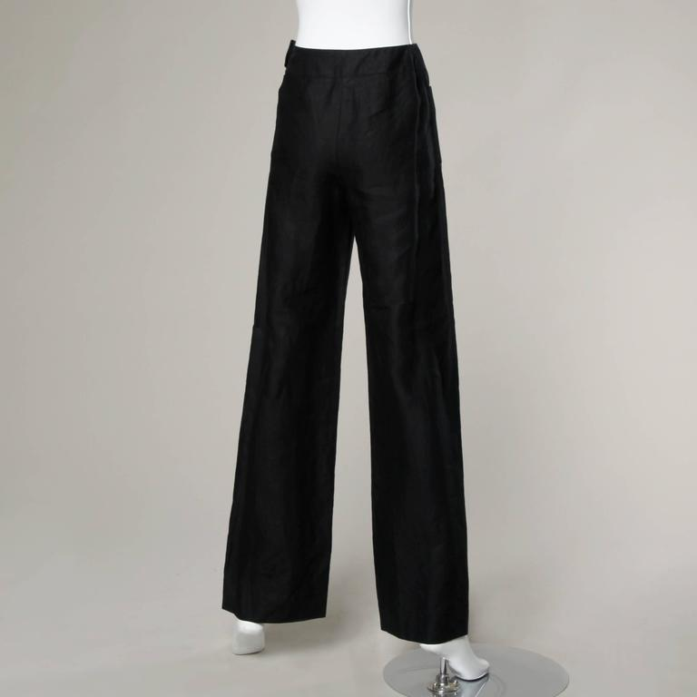 Chanel Black Linen Wide Flared Leg High Waisted Trousers/ Pants 3