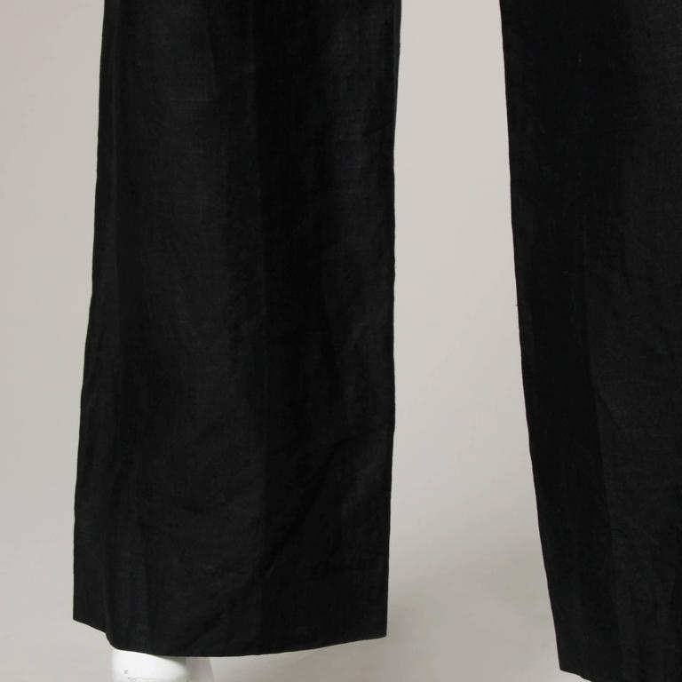 Chanel Black Linen Wide Flared Leg High Waisted Trousers/ Pants 6
