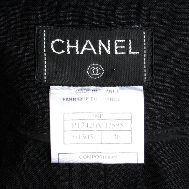 Chanel Black Linen Wide Flared Leg High Waisted Trousers/ Pants 4