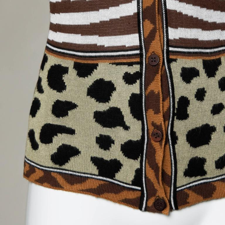 Kenzo Animal Print Button Up Knit Cardigan Sweater For Sale 2