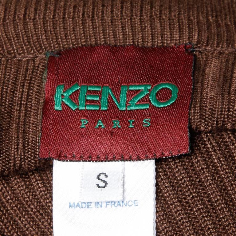 Black Kenzo Animal Print Button Up Knit Cardigan Sweater For Sale