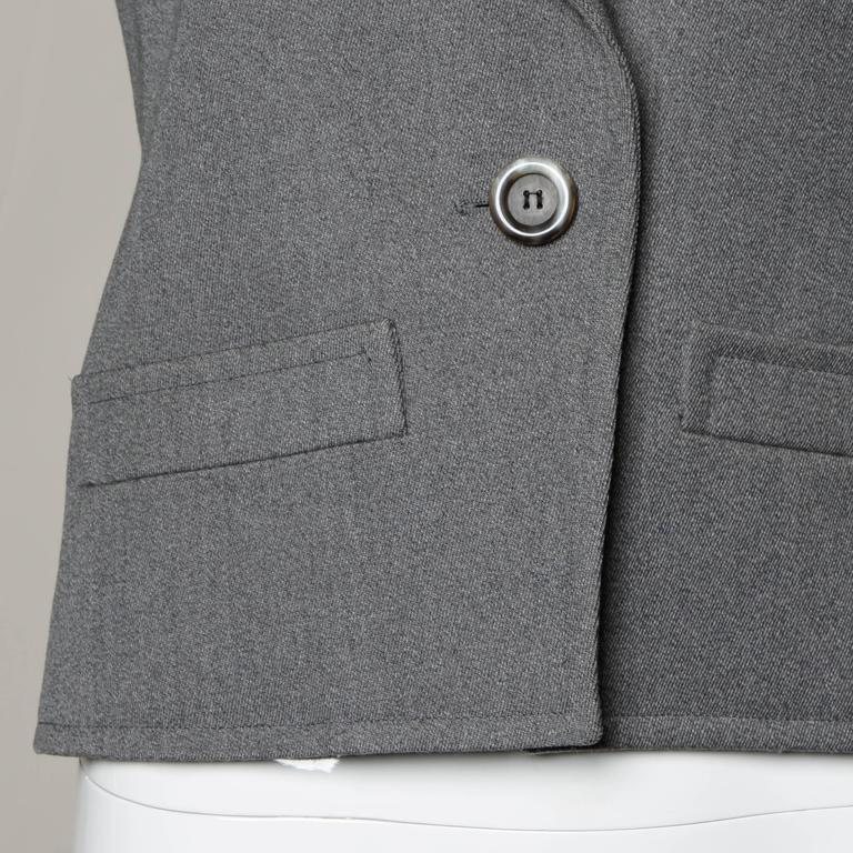 YSL Yves Saint Laurent Rive Gauche Vintage Gray Wool Blazer Jacket For Sale 1