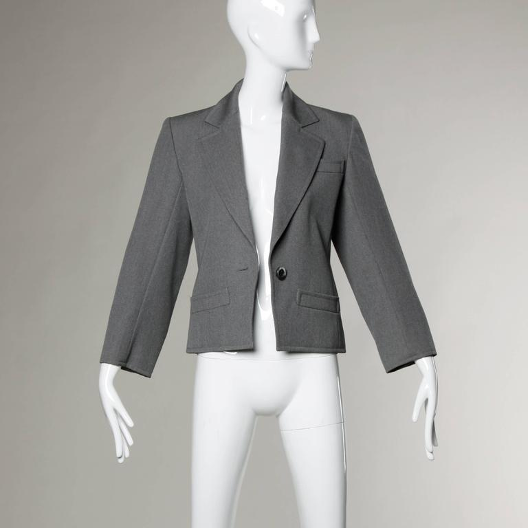 YSL Yves Saint Laurent Rive Gauche Vintage Gray Wool Blazer Jacket For Sale 2