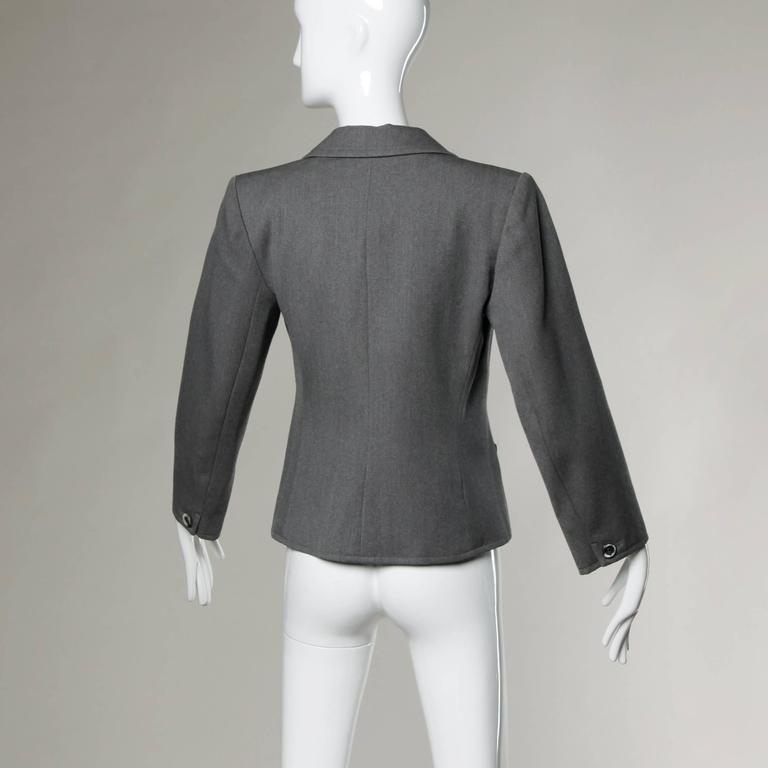 YSL Yves Saint Laurent Rive Gauche Vintage Gray Wool Blazer Jacket In Excellent Condition For Sale In Sparks, NV