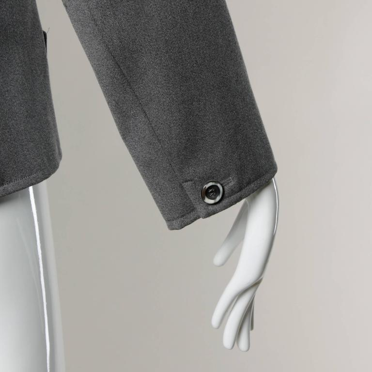 YSL Yves Saint Laurent Rive Gauche Vintage Gray Wool Blazer Jacket For Sale 3