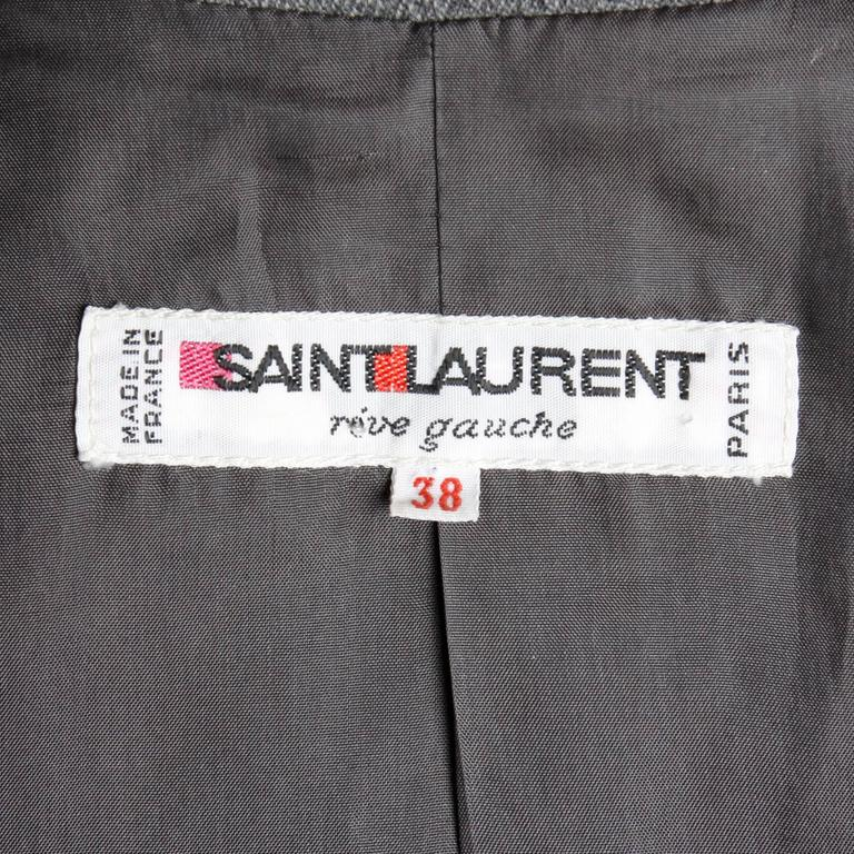 Women's YSL Yves Saint Laurent Rive Gauche Vintage Gray Wool Blazer Jacket For Sale
