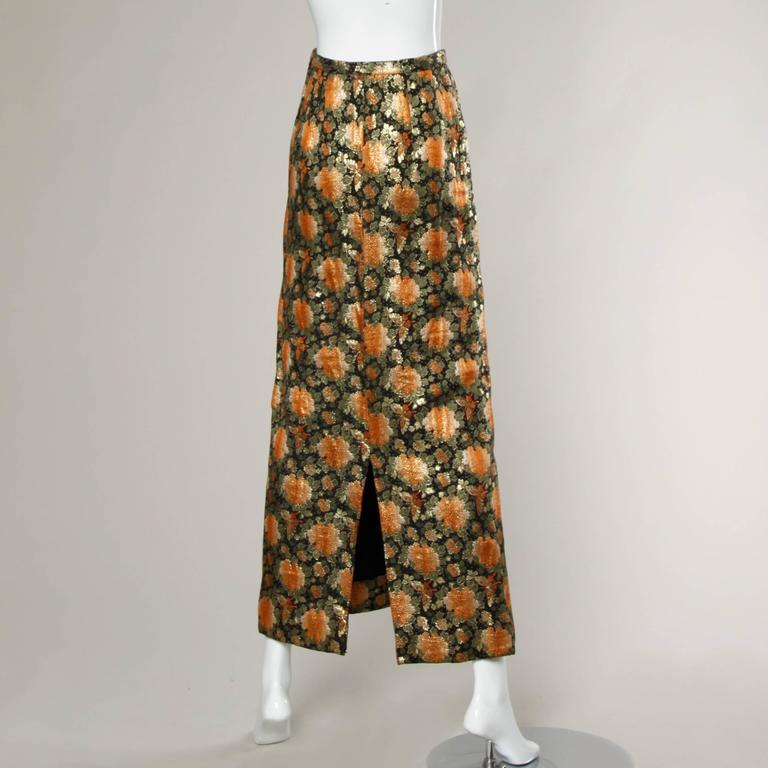 Brown 1960s Vintage Metallic Brocade Maxi Skirt For Sale