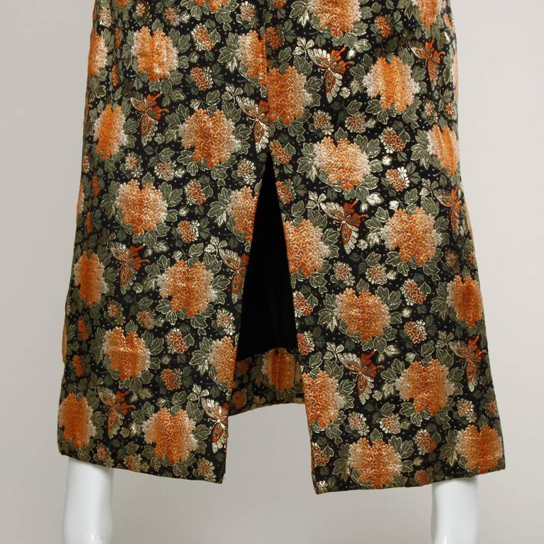 1960s Vintage Metallic Brocade Maxi Skirt In Excellent Condition For Sale In Sparks, NV