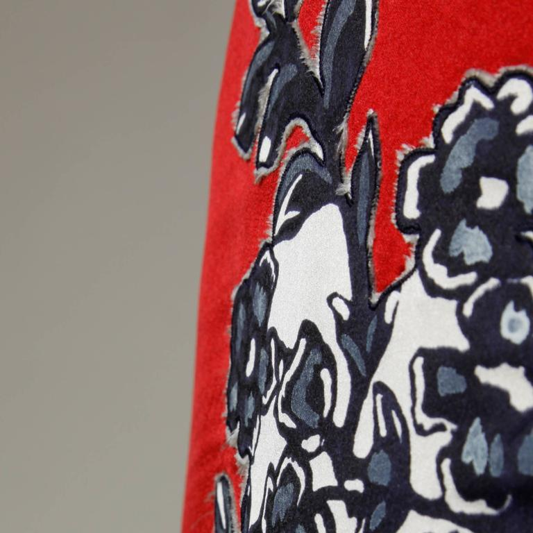 Bill Blass Vintage Red Silk Satin Skirt with Screen Printed Flowers For Sale 2