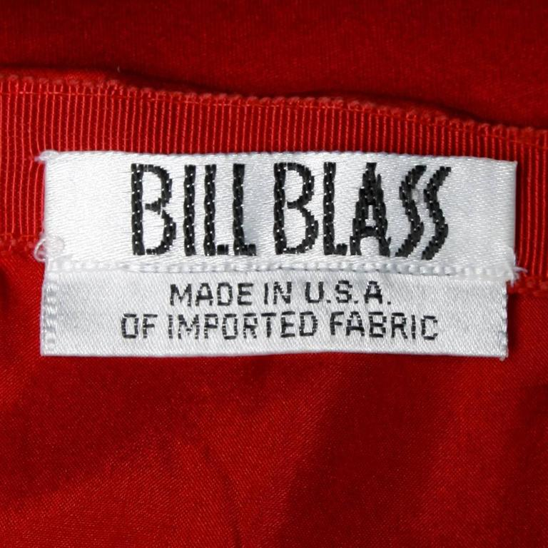 Women's Bill Blass Vintage Red Silk Satin Skirt with Screen Printed Flowers For Sale