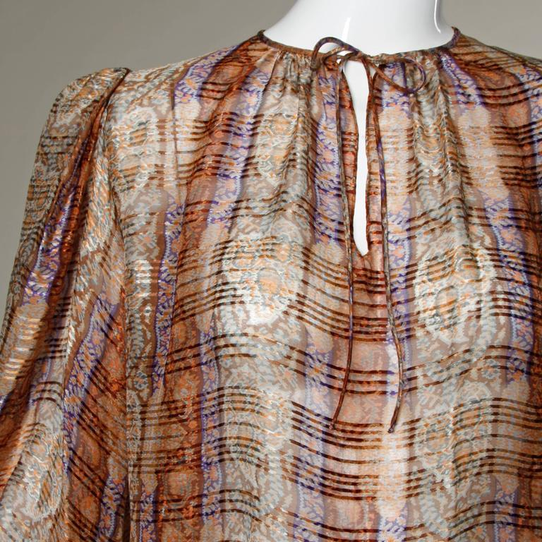 1970s Frances Heffernan Sheer Paper Thin Silk Blouse with Balloon Sleeves In Excellent Condition For Sale In Sparks, NV