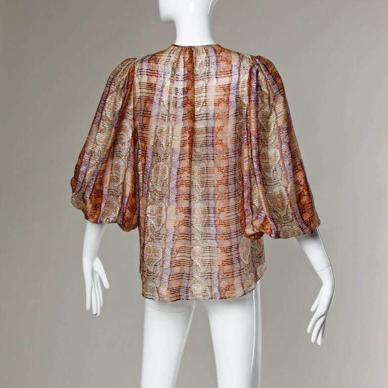 Women's 1970s Frances Heffernan Sheer Paper Thin Silk Blouse with Balloon Sleeves For Sale
