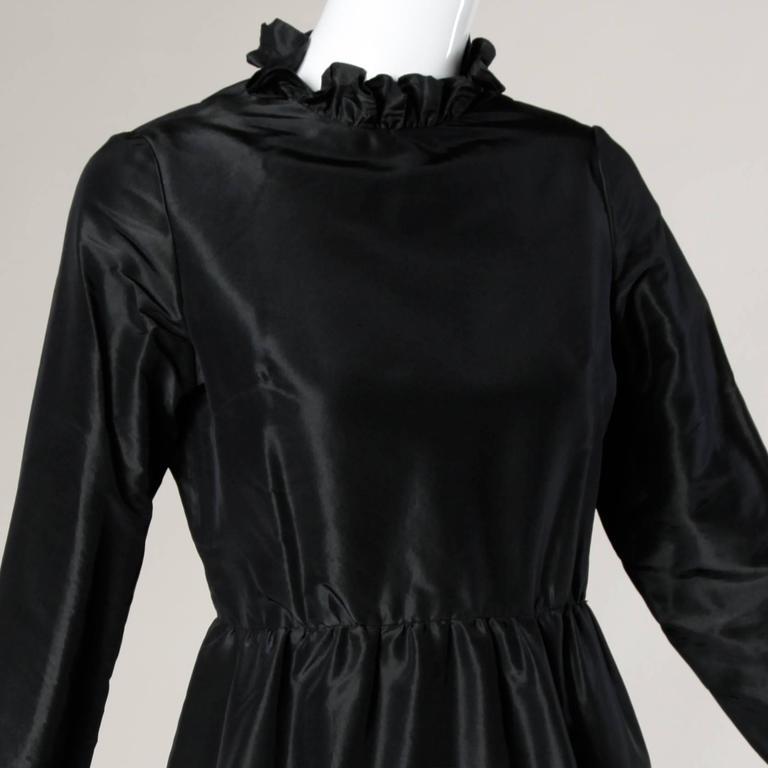 Oscar De La Renta 1970s Black Silk Taffeta Cocktail Dress with Ruffled Trim 2