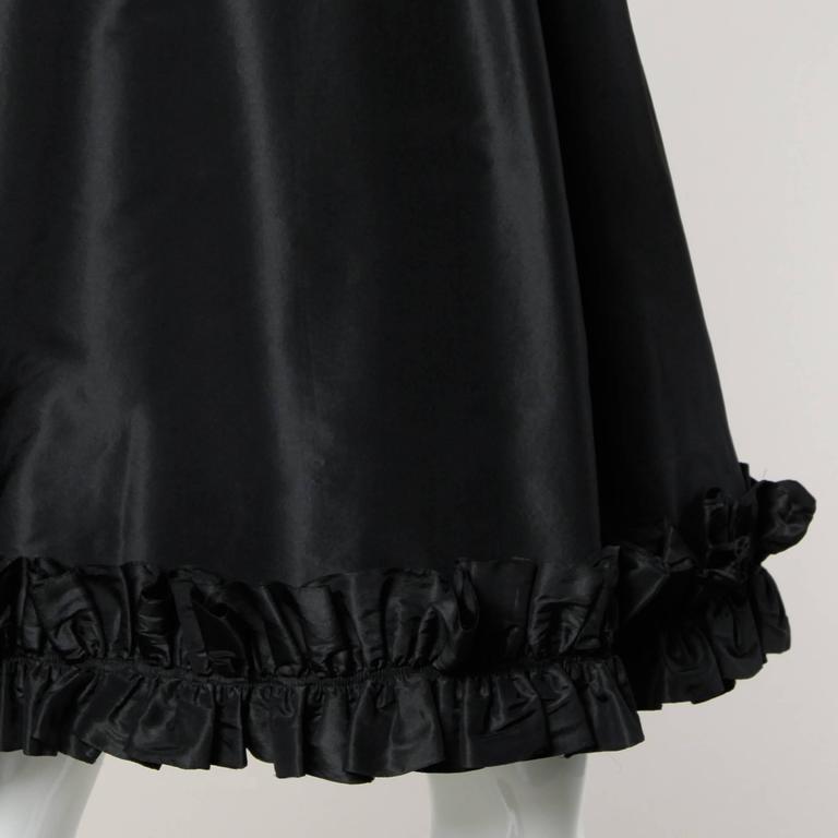 Oscar De La Renta 1970s Black Silk Taffeta Cocktail Dress with Ruffled Trim 6