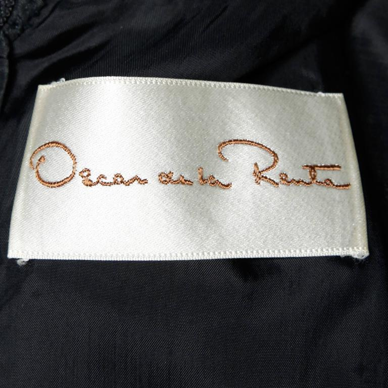 Oscar De La Renta 1970s Black Silk Taffeta Cocktail Dress with Ruffled Trim 4