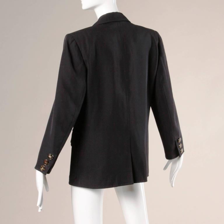 Black Yves Saint Laurent Rive Gauche Vintage Wool Boyfriend Blazer Jacket For Sale