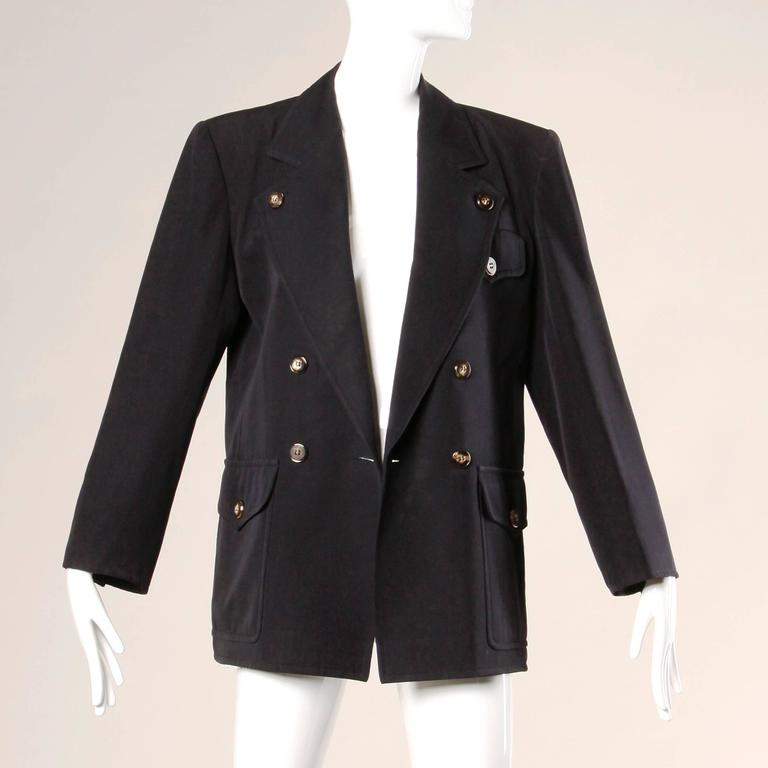 Women's Yves Saint Laurent Rive Gauche Vintage Wool Boyfriend Blazer Jacket For Sale