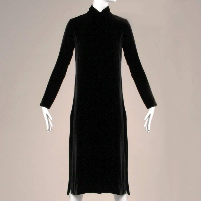 Gorgeous simple and chic soft velvet tunic dress by Jean Patou for I. Magnin. Turtleneck, long sleeves and high side slits. Amazing construction and couture hand-stitched detailing. This would look great worn as is or over a pair of pants or