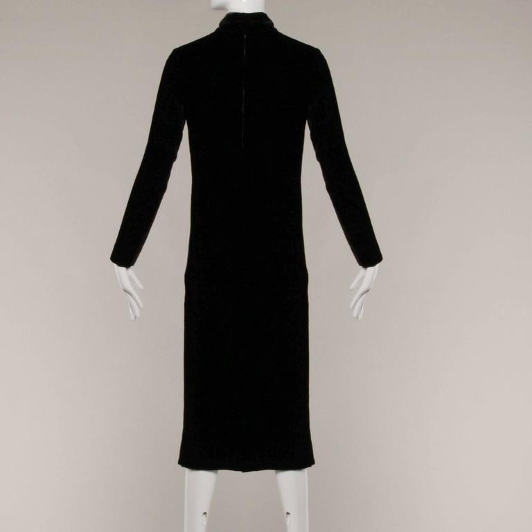 Stunning 1960s Jean Patou Vintage Black Velvet Long Sleeve Turtleneck Dress For Sale 1