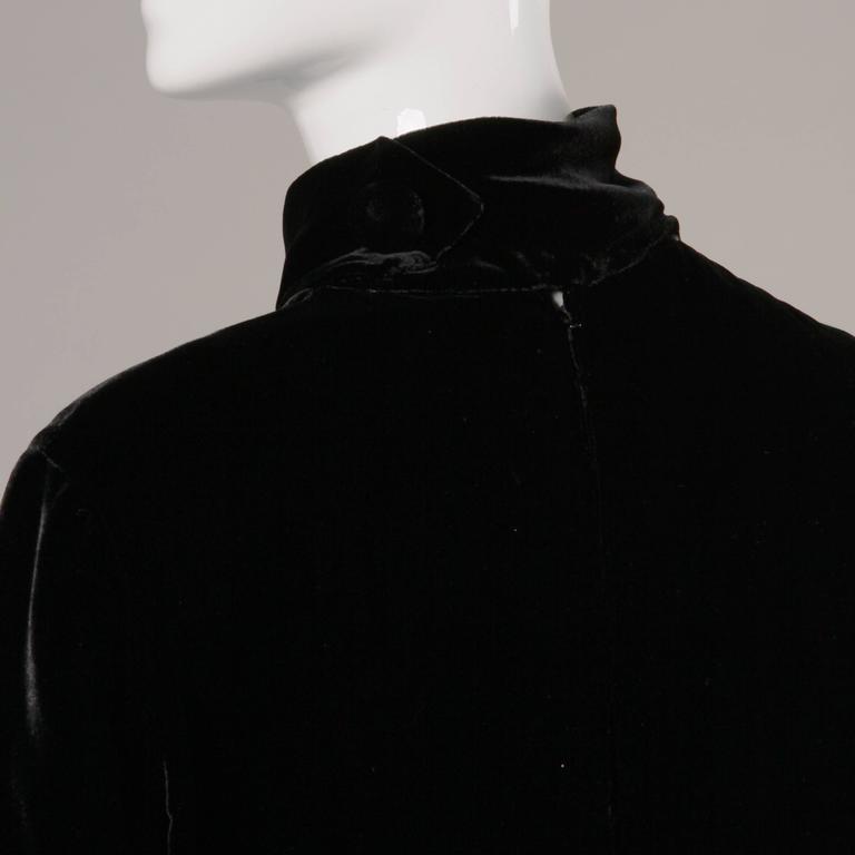 Women's Stunning 1960s Jean Patou Vintage Black Velvet Long Sleeve Turtleneck Dress For Sale