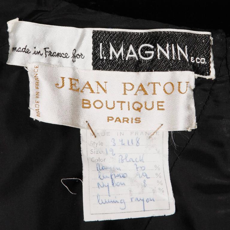 Stunning 1960s Jean Patou Vintage Black Velvet Long Sleeve Turtleneck Dress In Excellent Condition For Sale In Sparks, NV
