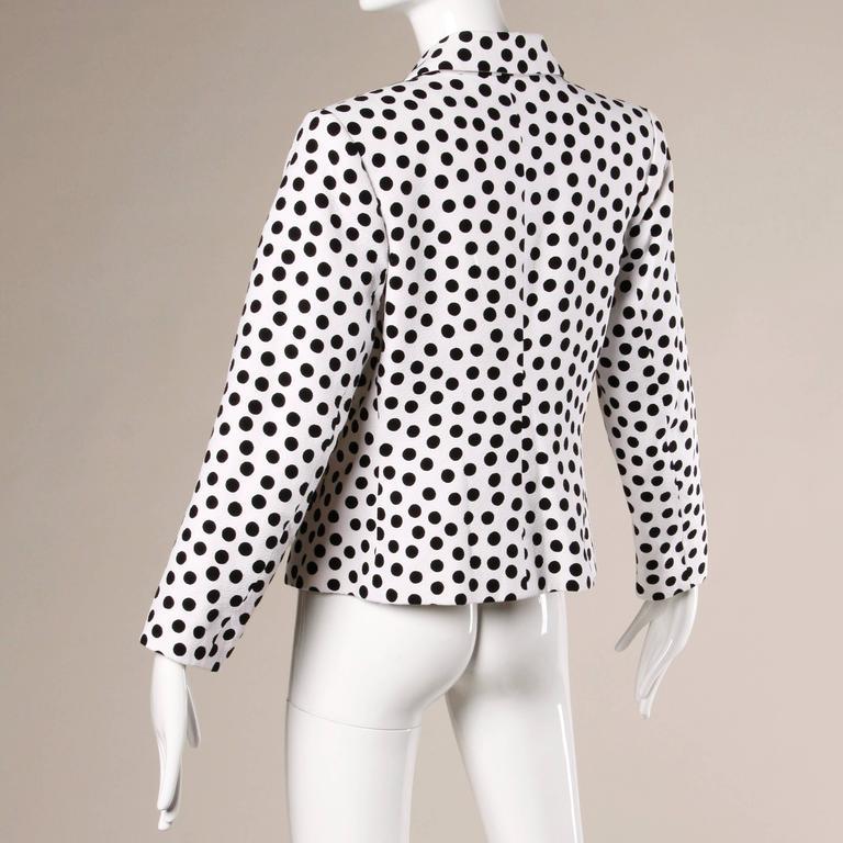 Women's YSL Yves Saint Laurent Rive Gauche Vintage Black + White Polka Dot Blazer Jacket For Sale