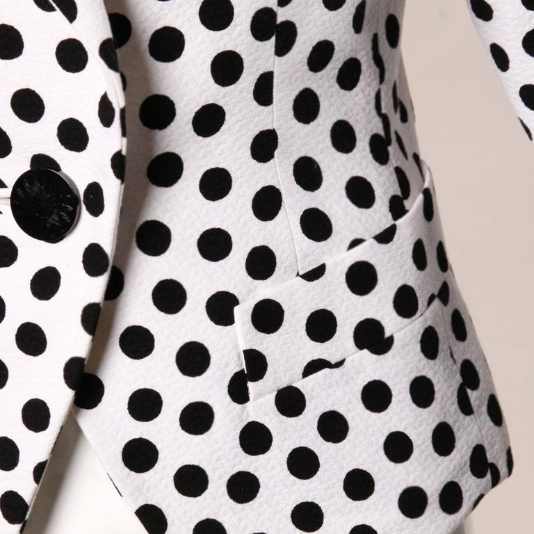 YSL Yves Saint Laurent Rive Gauche Vintage Black + White Polka Dot Blazer Jacket For Sale 1