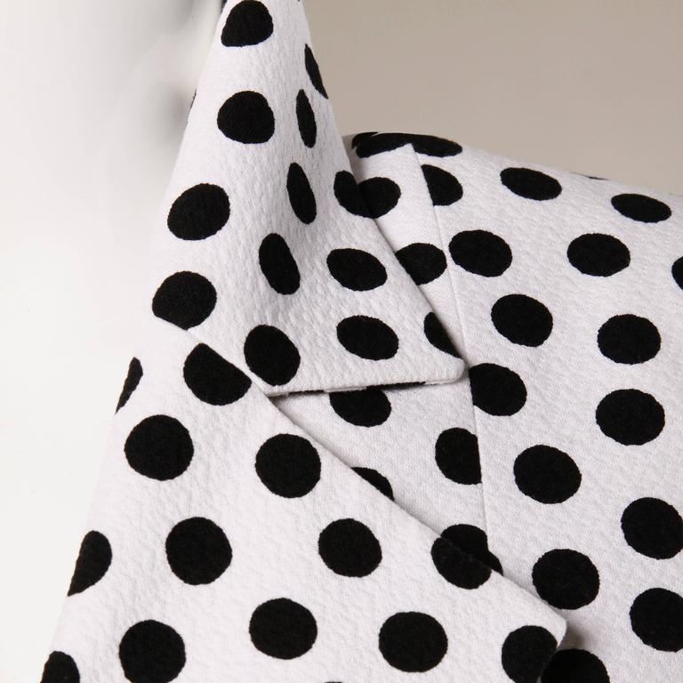YSL Yves Saint Laurent Rive Gauche Vintage Black + White Polka Dot Blazer Jacket In Excellent Condition For Sale In Sparks, NV