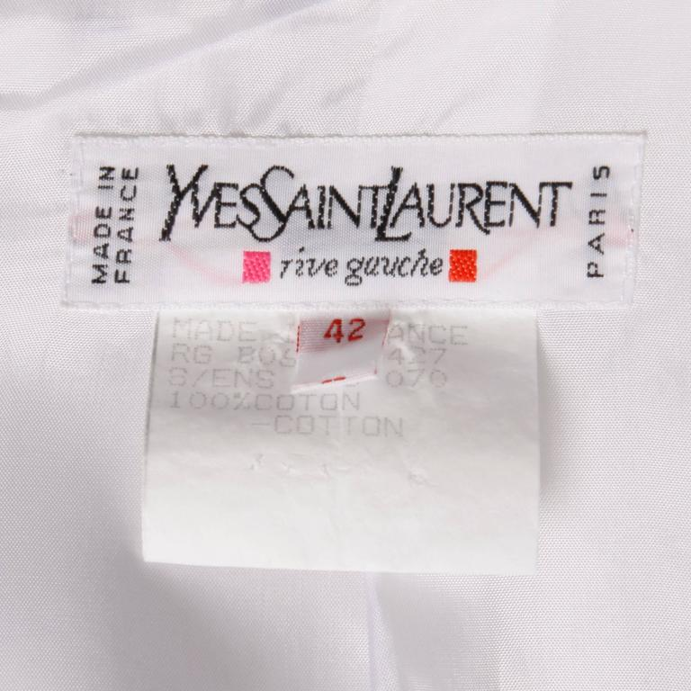 Gray YSL Yves Saint Laurent Rive Gauche Vintage Black + White Polka Dot Blazer Jacket For Sale