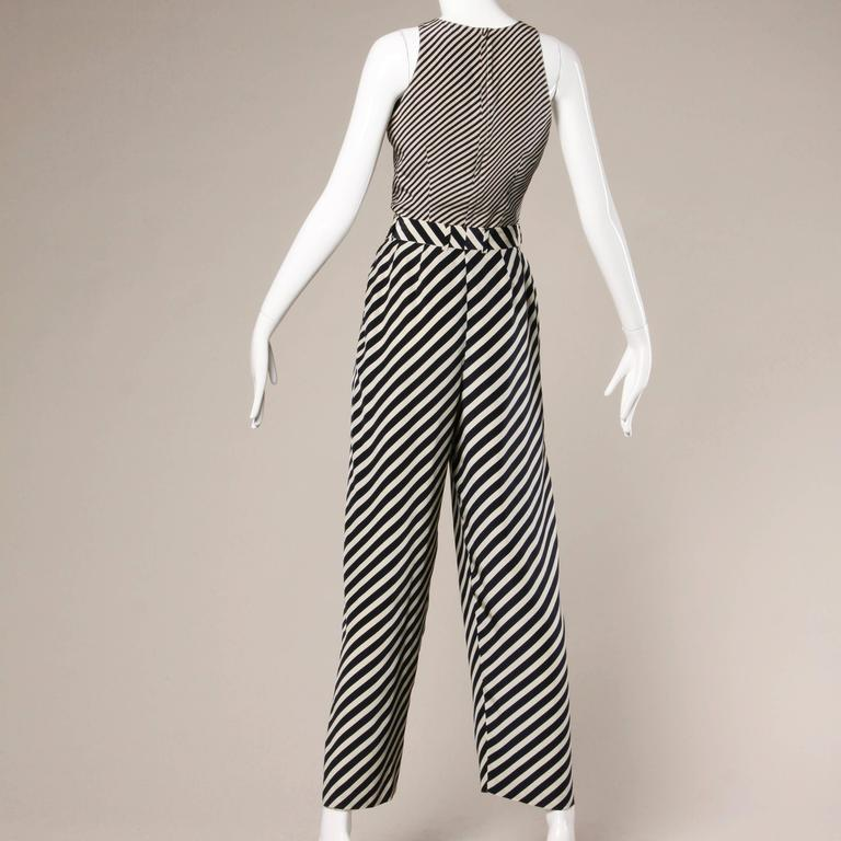 e0b1ded772f Giorgio Armani Vintage Navy + Beige Silk Striped Pants + Top 2-Piece  Ensemble For