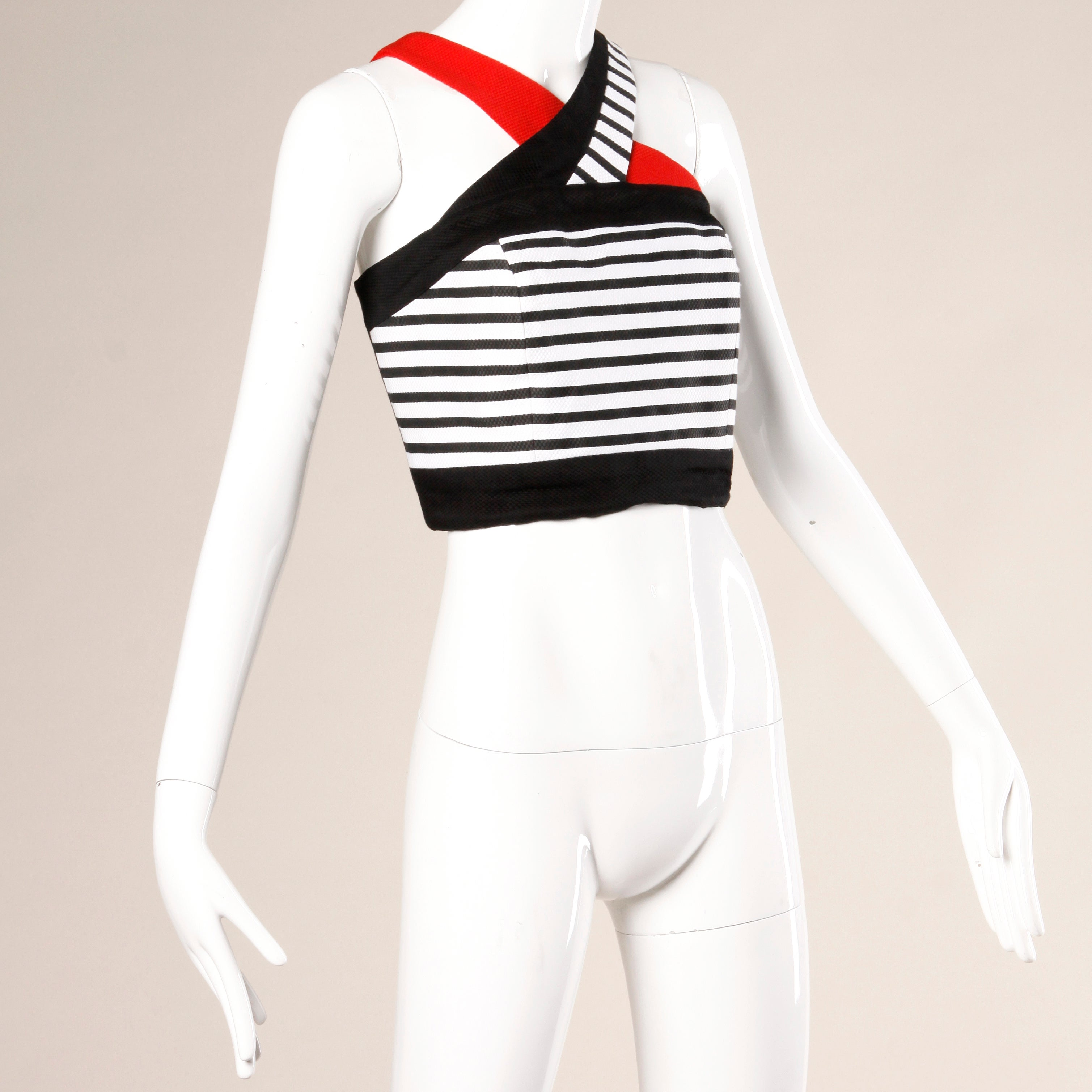 07c6aa1b3aadc Lillie Rubin Vintage Red White and Black Striped Cropped Halter Top For Sale  at 1stdibs