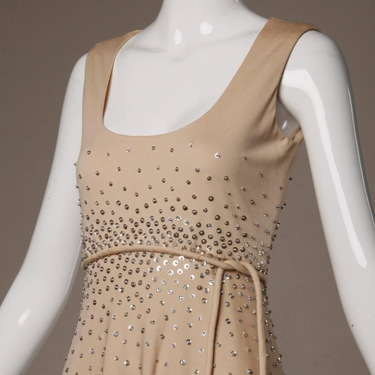 Brown 1970s Vintage Metallic Silver Sequin Nude Jersey Knit Empire Maxi Dress For Sale