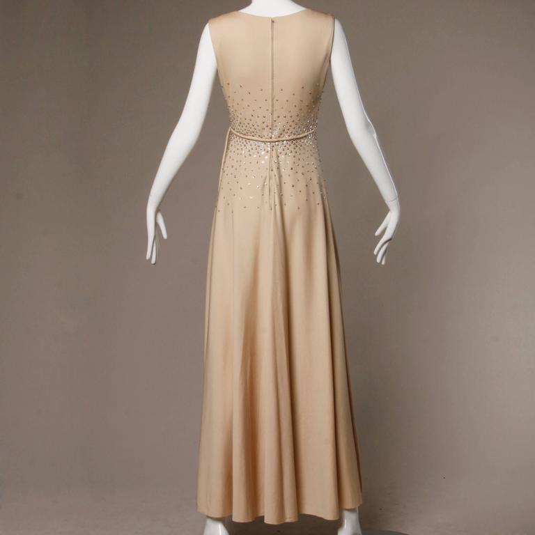 1970s Vintage Metallic Silver Sequin Nude Jersey Knit Empire Maxi Dress In Excellent Condition For Sale In Sparks, NV