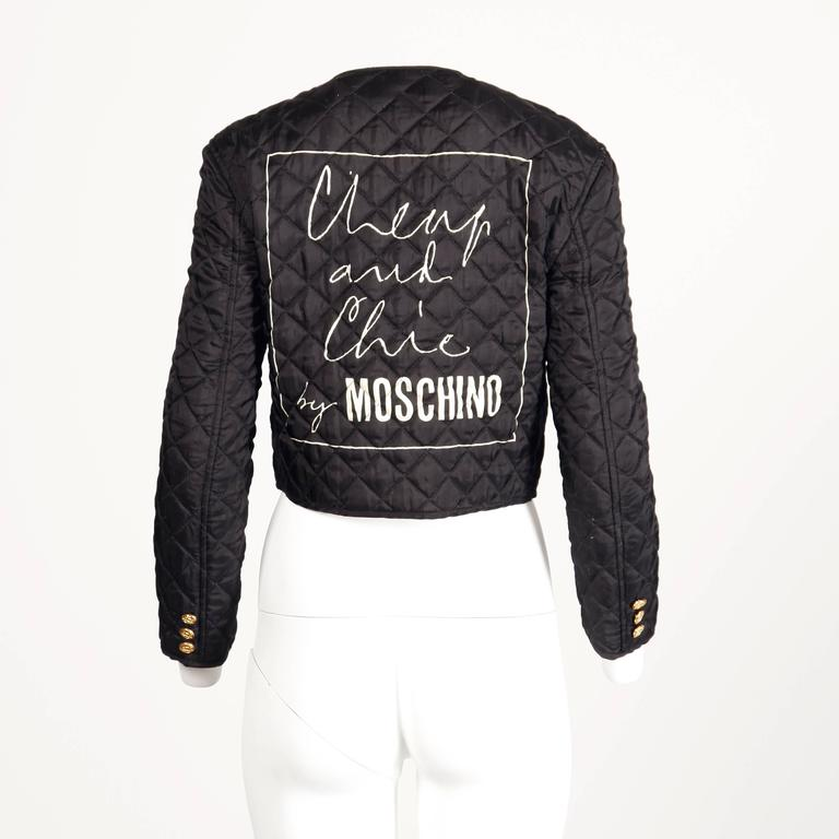 Women's Moschino Vintage 1990s 90s Black Quilted Jacket with Cheap & Chic Graphic For Sale
