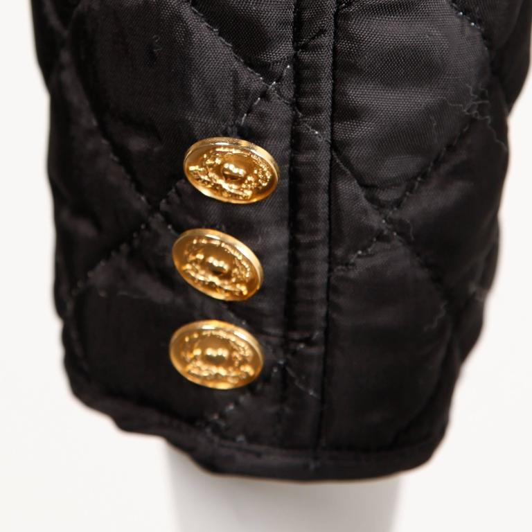 Moschino Vintage 1990s 90s Black Quilted Jacket with Cheap & Chic Graphic For Sale 1