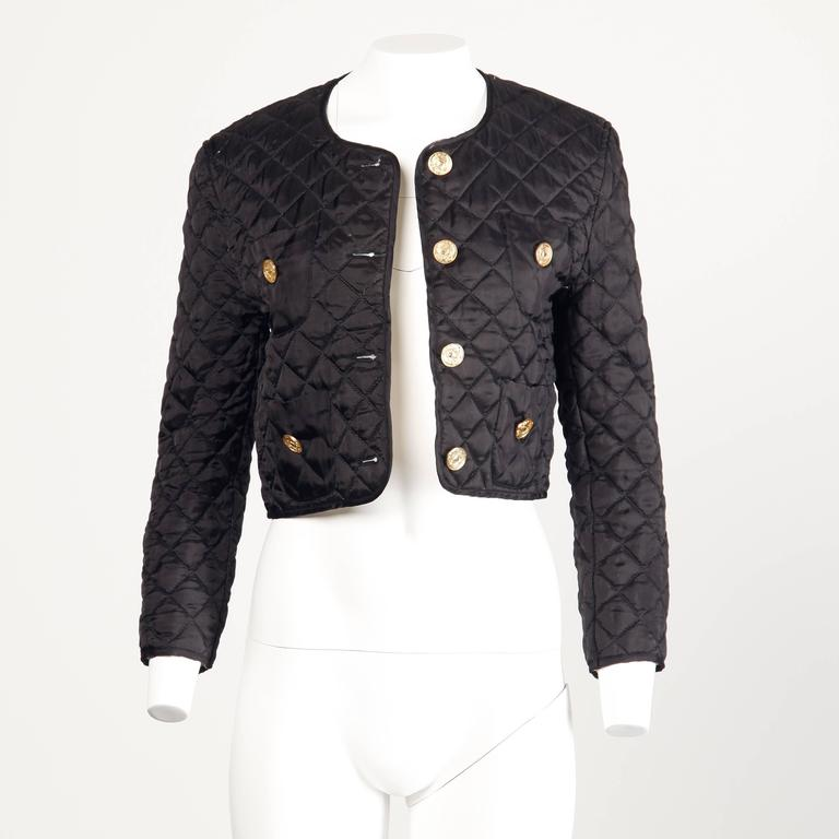 Moschino Vintage 1990s 90s Black Quilted Jacket with Cheap & Chic Graphic For Sale 2