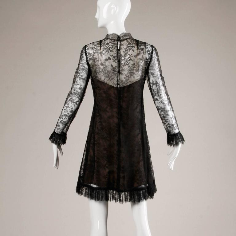 Women's 1960s Vintage Brown + Black Nude Illusion Chantilly Lace Cocktail Dress For Sale