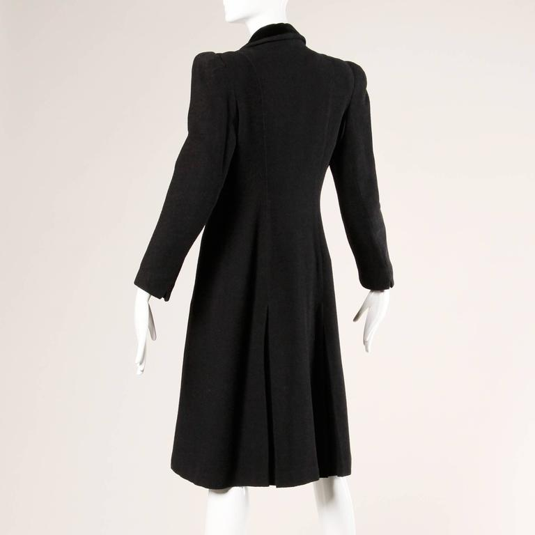 Elegant Vintage 1940s 40s Black Wool Princess Coat with Bold Shoulders 6