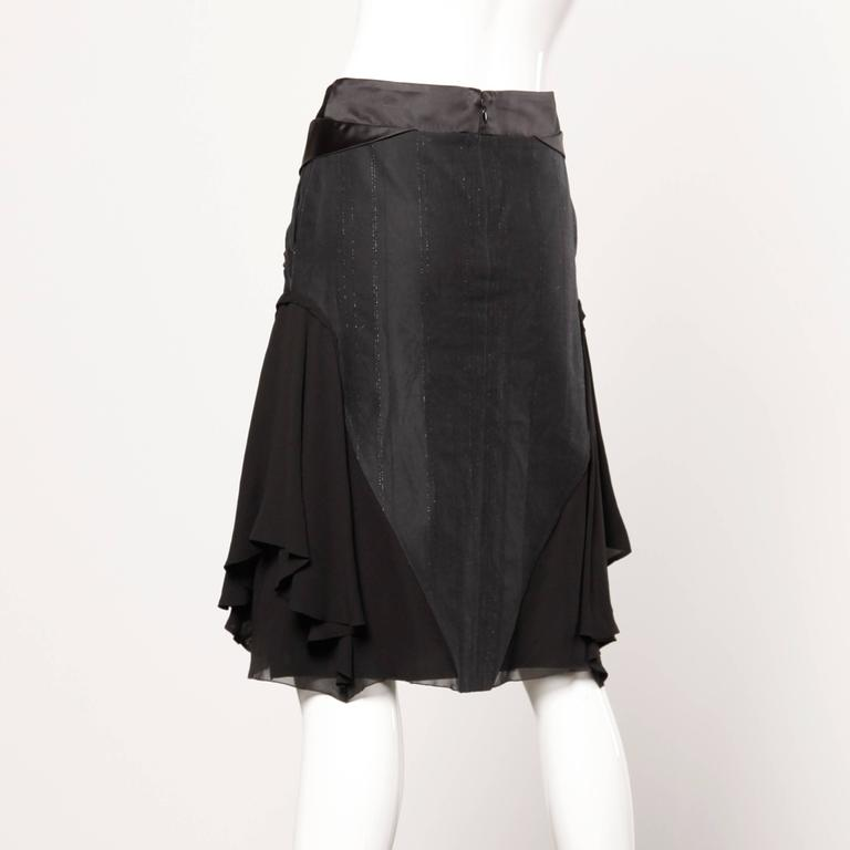 Black Martine Sitbon Silk and Wool Avant Garde Skirt For Sale