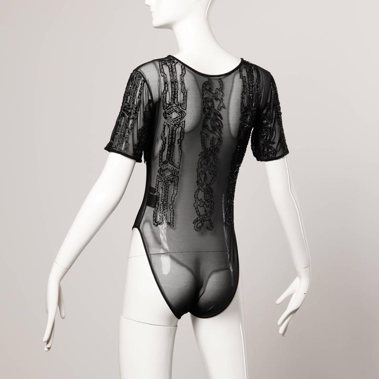 Christian Lacroix Vintage 1990s Black Beaded Sheer Mesh Bodysuit or One Piece 3